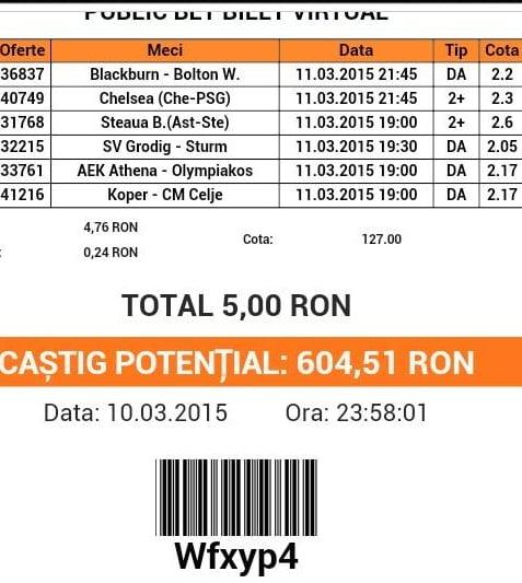 Bilet pariuri propus de Sorin pentru 11 martie 2015