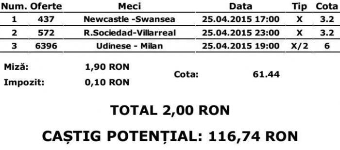 Bilet pariuri propus de Stefan pentru 25 aprilie 2015