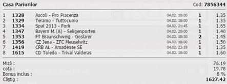 Bilet pariuri propus de Tiberiu pentru 2 aprilie 2015