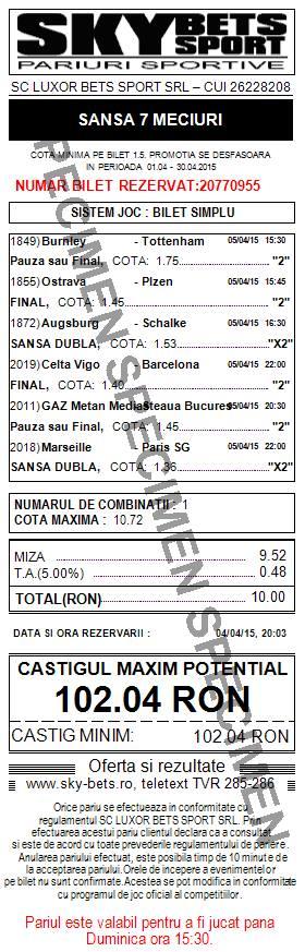 Bilet pariuri propus de Vali1 pentru 5 aprilie 2015