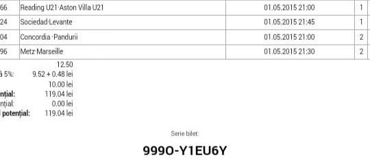 Bilet pariuri propus de Vlad pentru 1 mai 2015