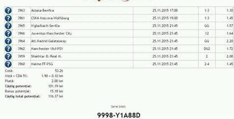Bilet pariuri propus de Vlad pentru 25 noiembrie 2015