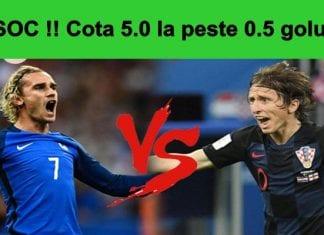 Bonus Cota 5.0 pe Franta vs Croatia la peste 0.5 goluri