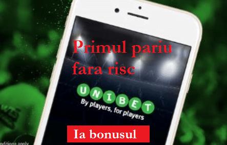 Bonus Unibet pentru mobil - primul pariu fara risc