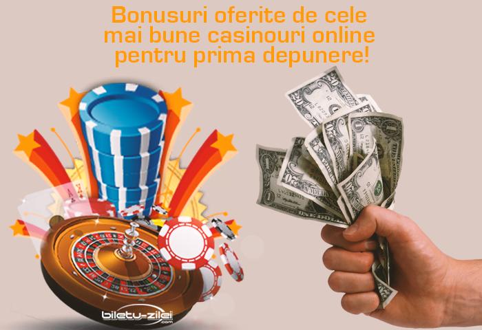 Bonusuri oferite de cele mai bune casinouri online pentru prima depunere