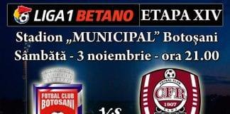 Botosani – CFR Cluj – ponturi pariuri Romania Liga 1 – 3 noiembrie 2018