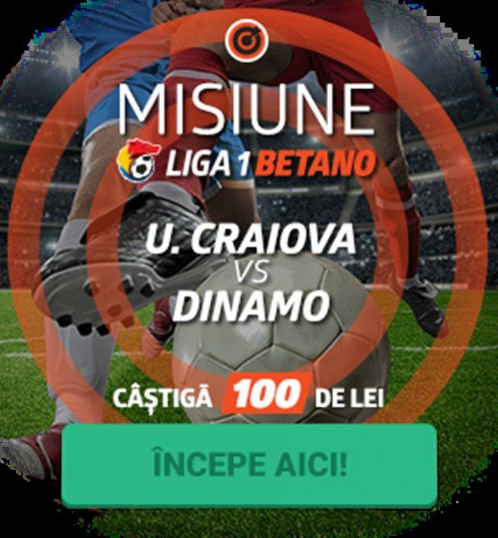Joaca la Betano un pariu pe U. Craiova – Dinamo primesti 100 RON gratuit