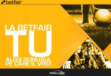 La Betfair tu alegi bonusul 50 din prima depunere pana la 450 RON sau 100 RON daca joci un pariu cu 100 RON