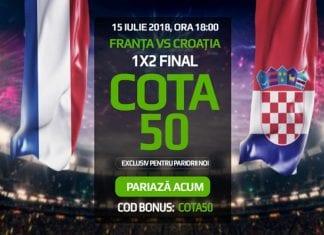 Nu rata Cota 50.0 pentru orice rezultat la Franta Croatia