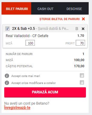 Screenshot 2019 01 13 Pariuri Real Valladolid CF Getafe Betano