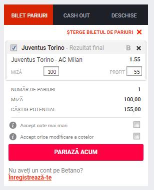 Screenshot 2019 01 15 Pariuri Juventus Torino AC Milan Betano1