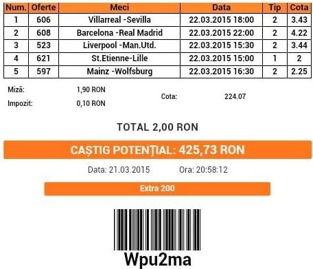 bilet pariuri propus de Ciprian pentru 6 martie 2015
