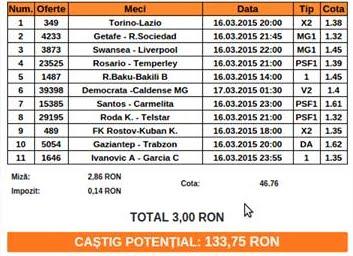 bilet pariuri propus de Costi pentru 16 martie 2015