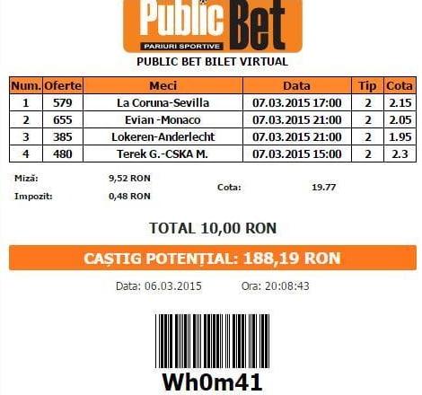 bilet pariuri propus de Florin pentru 7 martie 2015