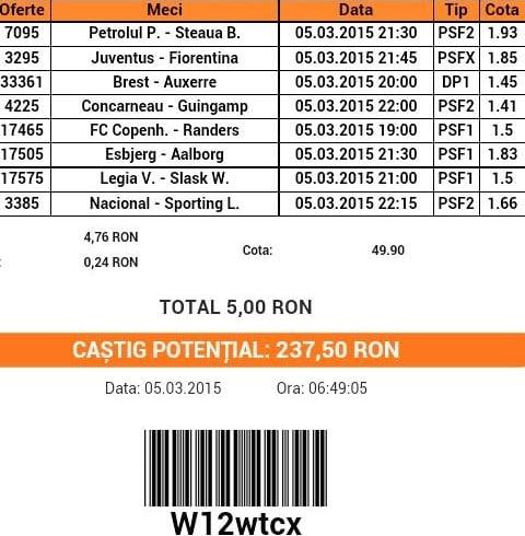 bilet pariuri propus de Ionut pentru 5 martie 2015