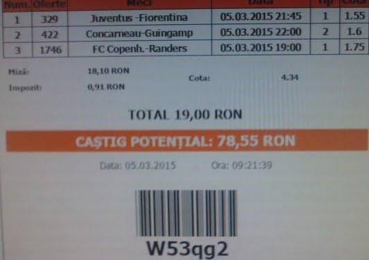 bilet pariuri propus de Iulica pentru 5 martie 2015