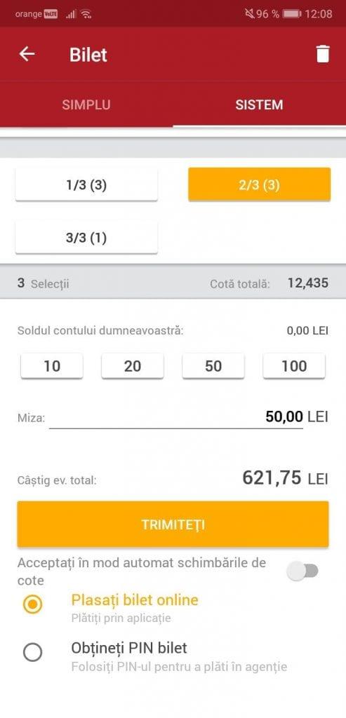bilet sistem de pe mobil la casa pariurilor
