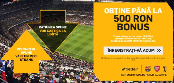 Betfair ofera 500 lei bonus pentru jucatorii noi - vezi aici cum profiti de oferta! Bonusuri pariuri