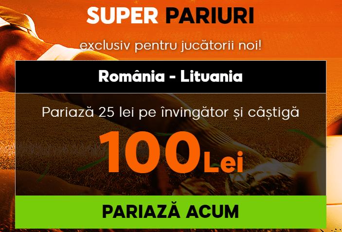 cota 4 pentru victorie romania cu lituania
