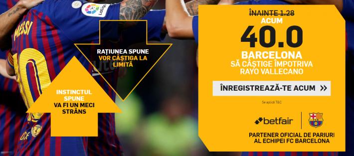 cota 40 pentru victorie barcelona cu rayo vallecano