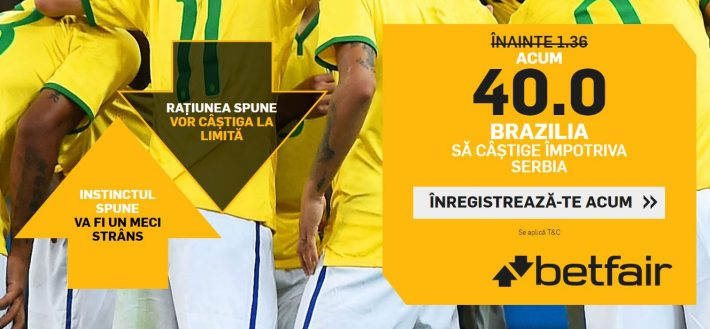 cota 40 pentru victorie brazilia cu serbia