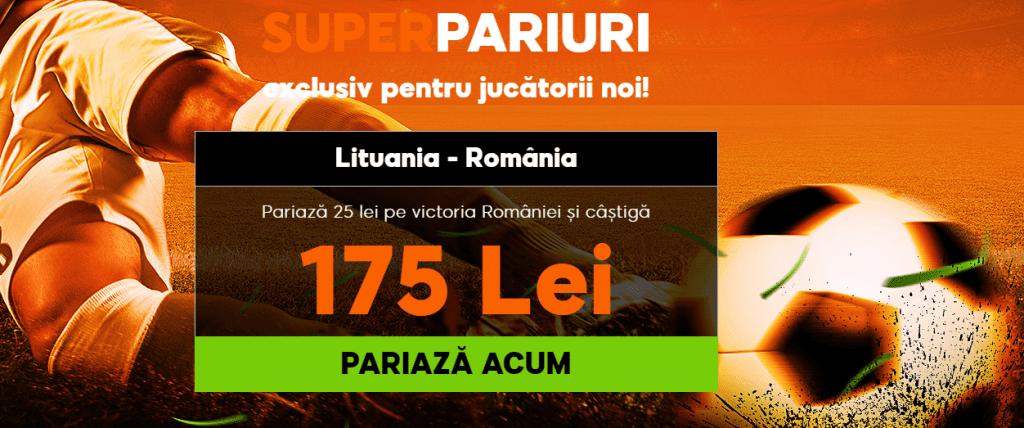 cota 7 pentru victorie romania cu lituania