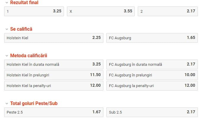 Kiel vs Augsburg ponturi pariuri - Cupa Germaniei - 6 februarie 2019 Ponturi pariuri