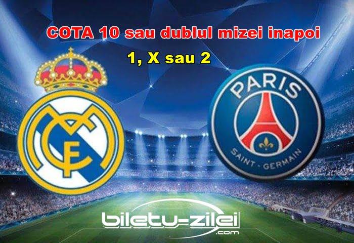 Real Madrid - PSG, pariaza pe rezultatul final al meciului saptamanii la o super cota de 10 1